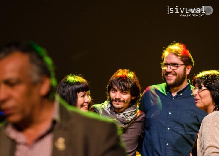 Sivuvalo core team members Roxana Crisólogo and Daniel Malpica in company of sound artist Josué Moreno and poet Zoila Forss [Photo by: Jaime Culebro]